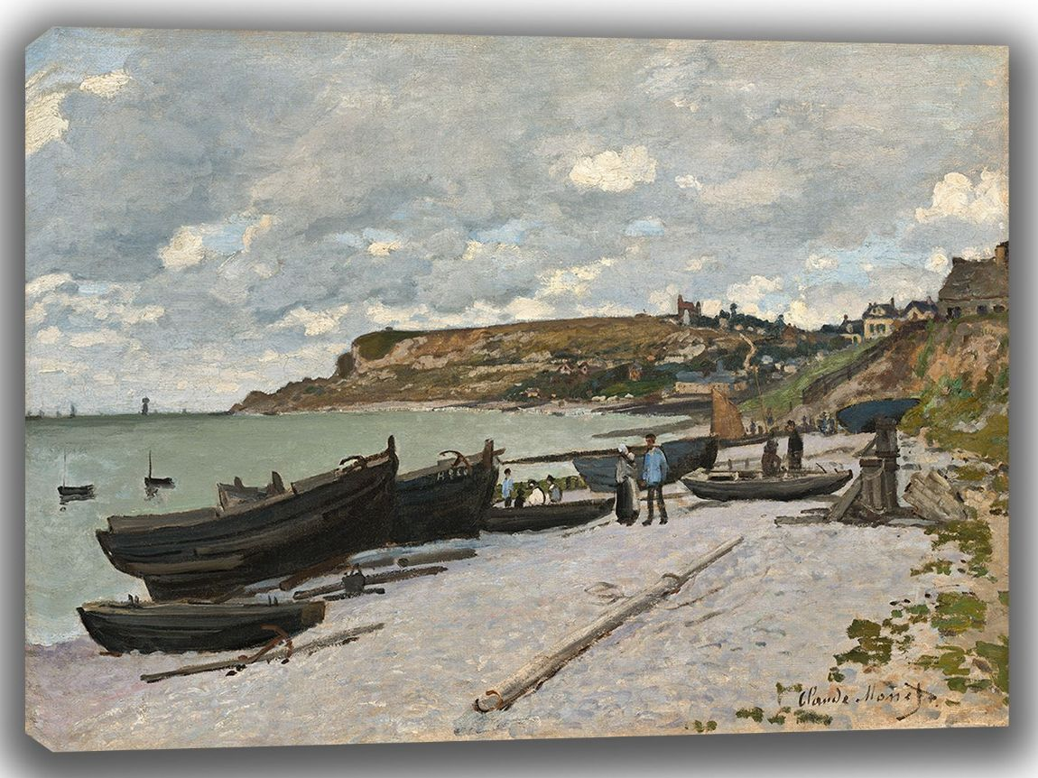 Monet, Claude: Sainte-Adresse, Fishing Boats on the Shore. Fine Art Canvas. Sizes: A4/A3/A2/A1 (003537)